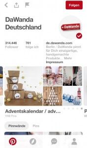 Screenshot Pinterest für Unternehmen Dawanda