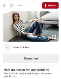Screenshot Pinterest für Unternehmen Zara
