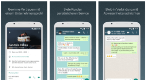 Screenshots von WhatsApp Business in der Miniaturansicht. Quelle: WhatsApp Business