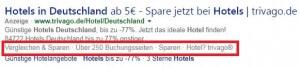 Screenshot Bing-Anzeige