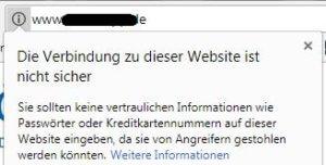 Screenshot mit Hinweis auf unsichere Website-Verbindung