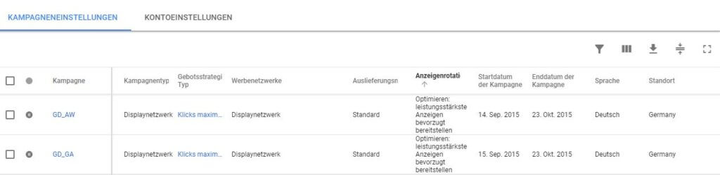 Anzeigenrotation bei den Anzeigenvorschlägen, Screenshot Google AdWords