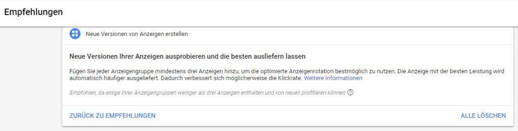 Empfehlungen bei den Anzeigenvorschlägen, Screenshot Google AdWords