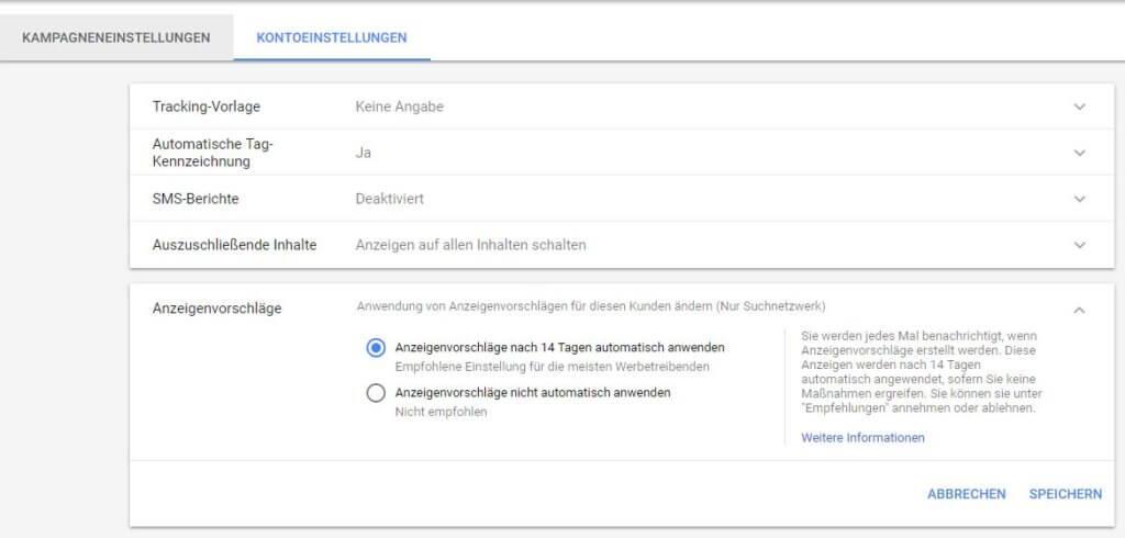 Kontoeinstellungen bei den Anzeigenvorschlägen, Screenshot Google AdWords