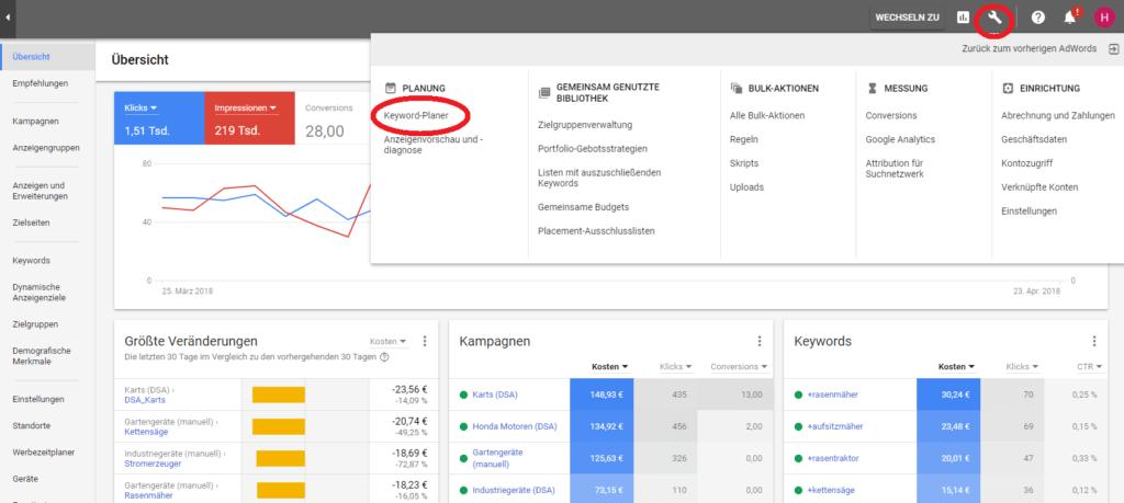 Screenshot Übersicht neuer Keyword-Planer, Quelle Google AdWords