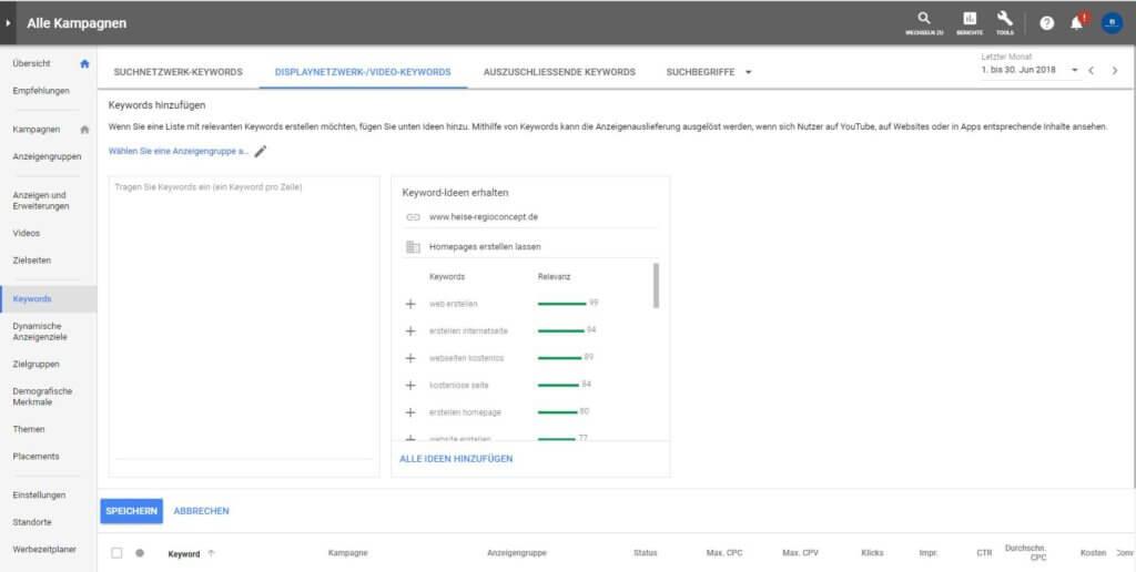 Screenshot: Google Ads Keyword-Ideen