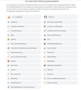 Anzeigenpersonalisierung, Screenshot Google-Konto