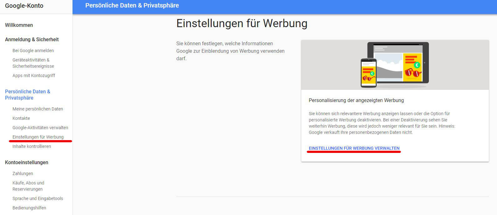Einstellungen für Werbung, Screenshot Google-Konto