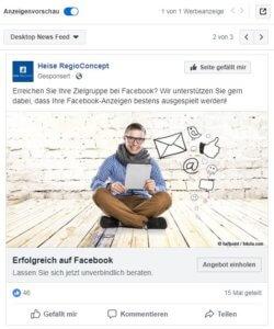 Beispiel Facebook-Anzeige Desktop