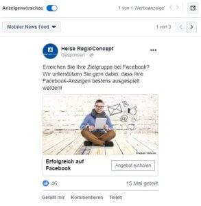 Beispiel Facebook-Anzeige mobil