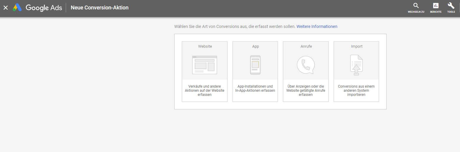 Screenshot Neue Conversion-Aktion, Google Ads