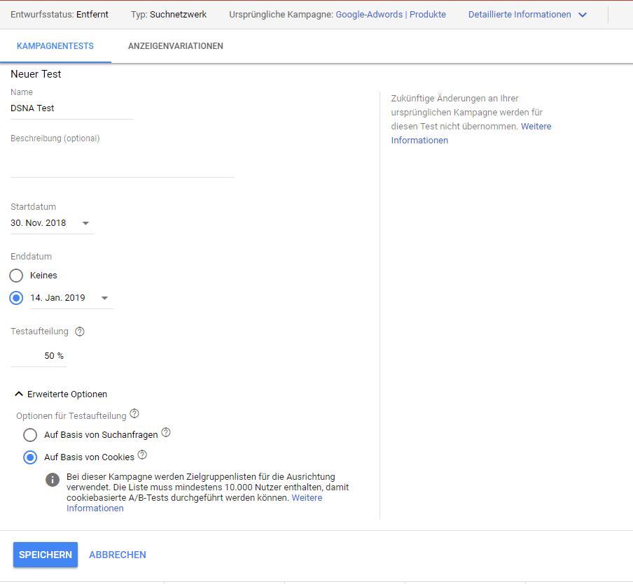 Screenshot Google Ads Kampagnentest