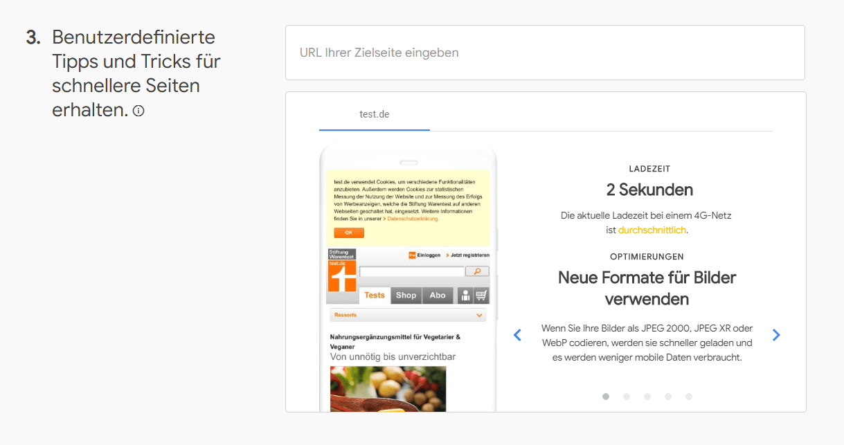 Tipps, Screenshot Test My Site