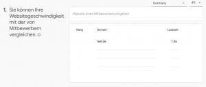 Wettbewerbsvergleich, Screenshot Test My Site