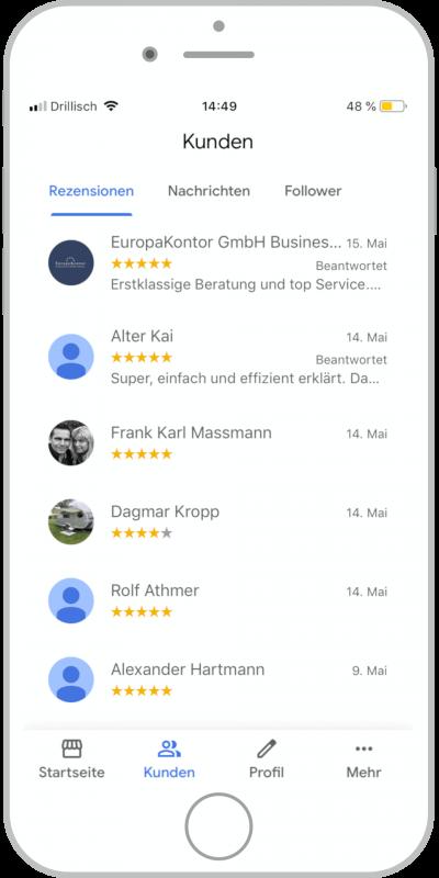 Bewertungen im Google My Business Eintrag