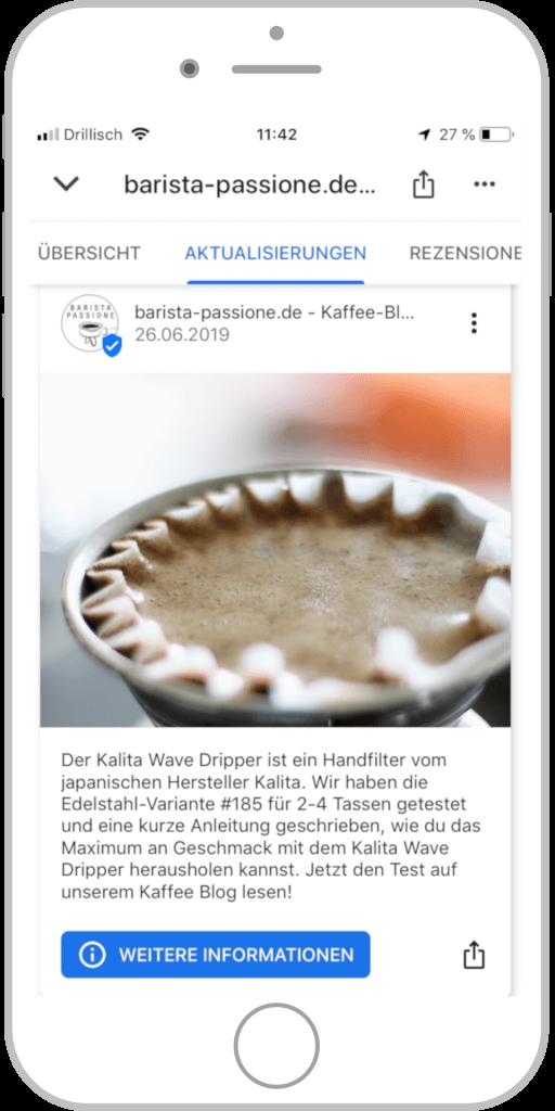 Referenz Barista Passione Google My Business