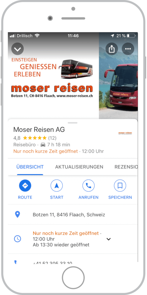 Referenz Moser Reisen Google My Business