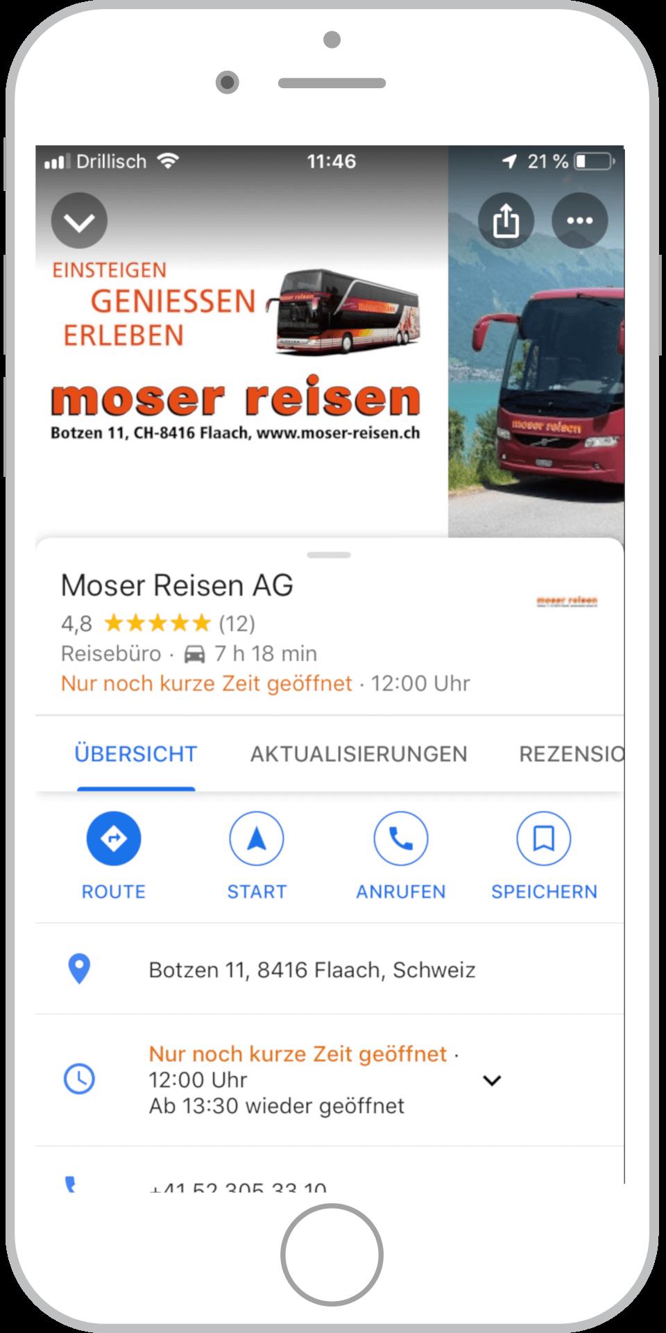 Referenz Moser Reisen Google My Business