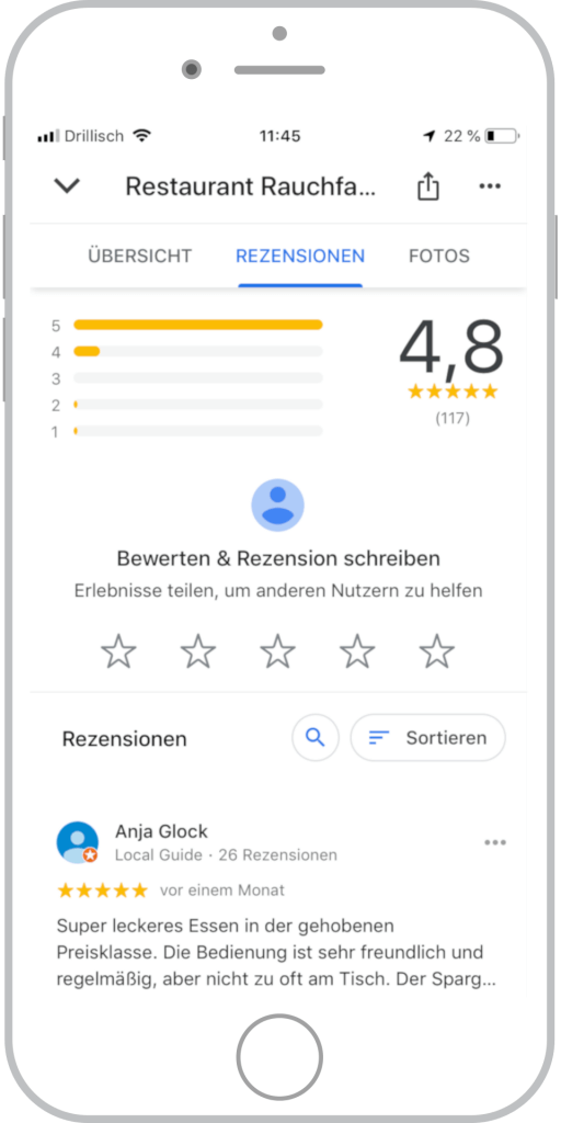 Referenz Restaurant Rauchfang Google My Business