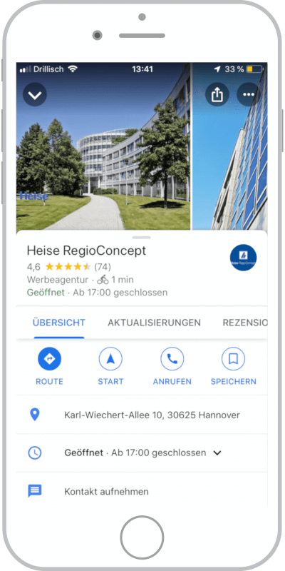Google My Business Eintrag Heise RegioConcept