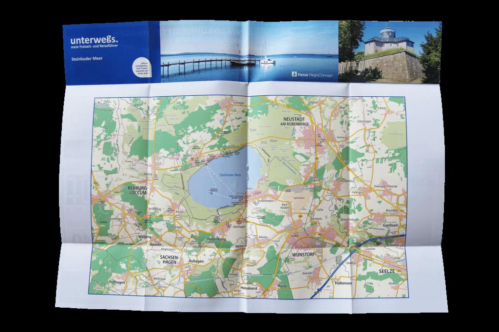 unterwegs.-Faltplan für die Region Steinhuder Meer