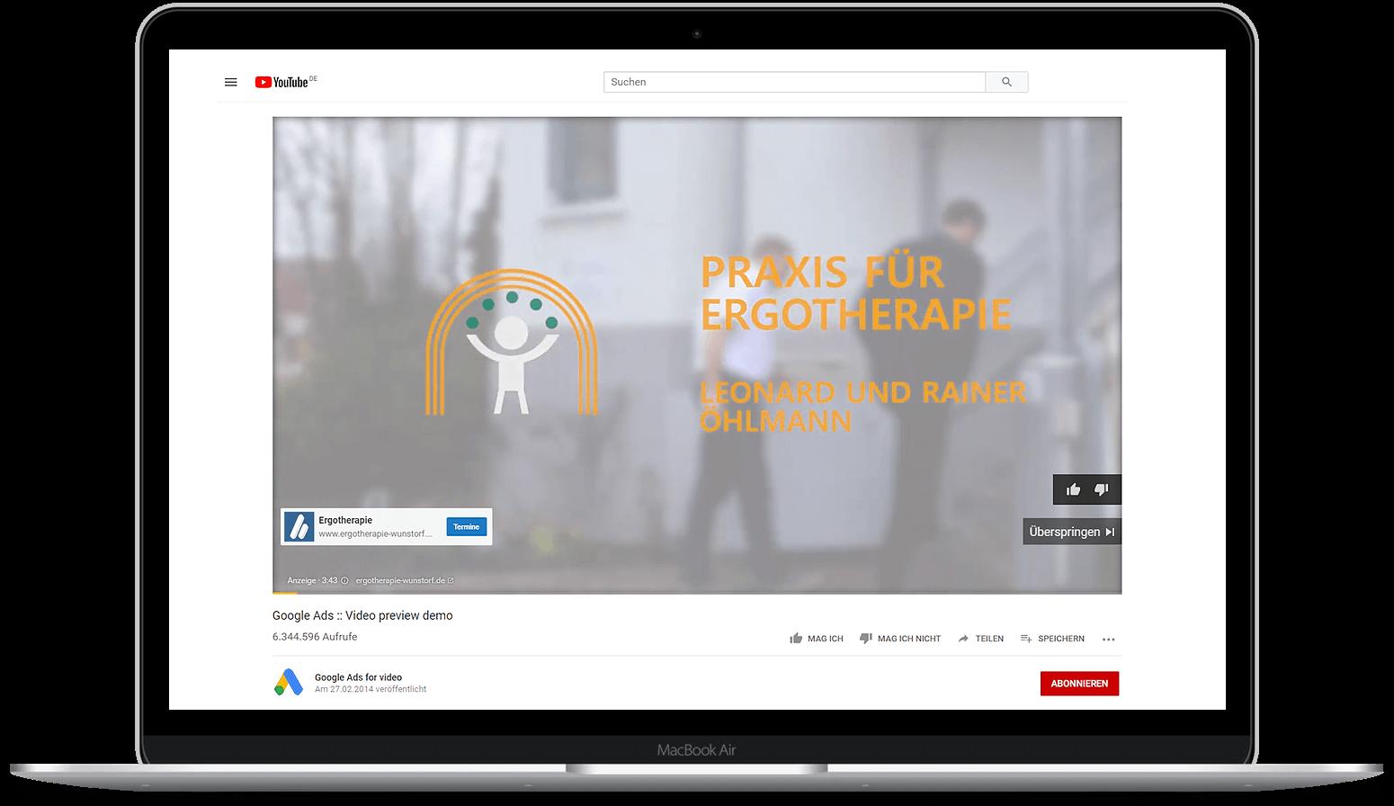 Google-Ads-Agentur Hannover YouTube Anzeige