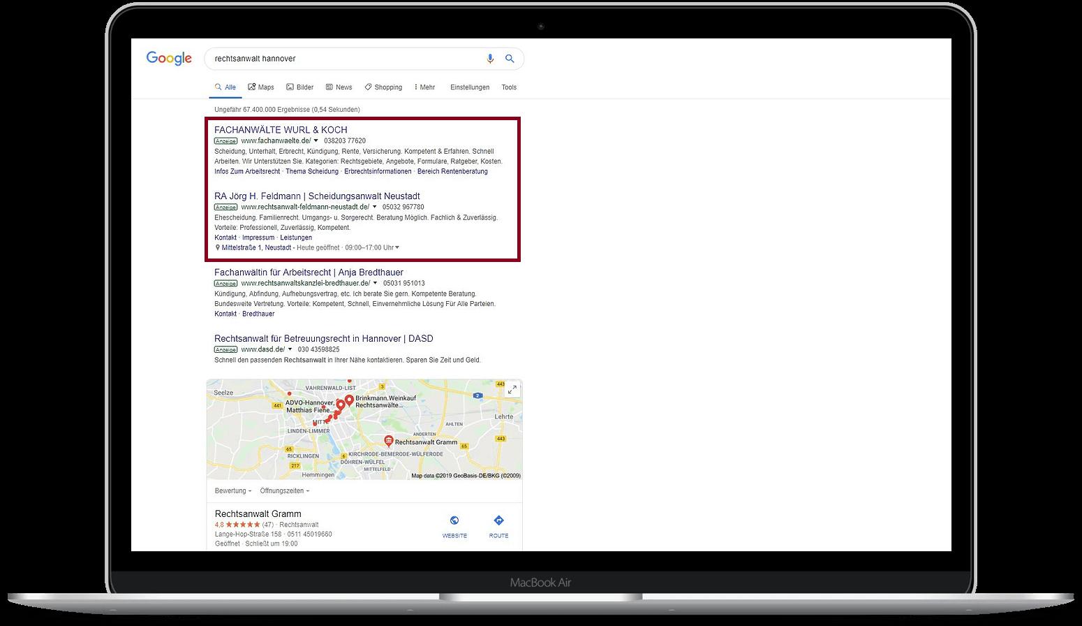 Google-Ads-Agentur Hannover Anzeige - Beispiel Rechtsanwalt