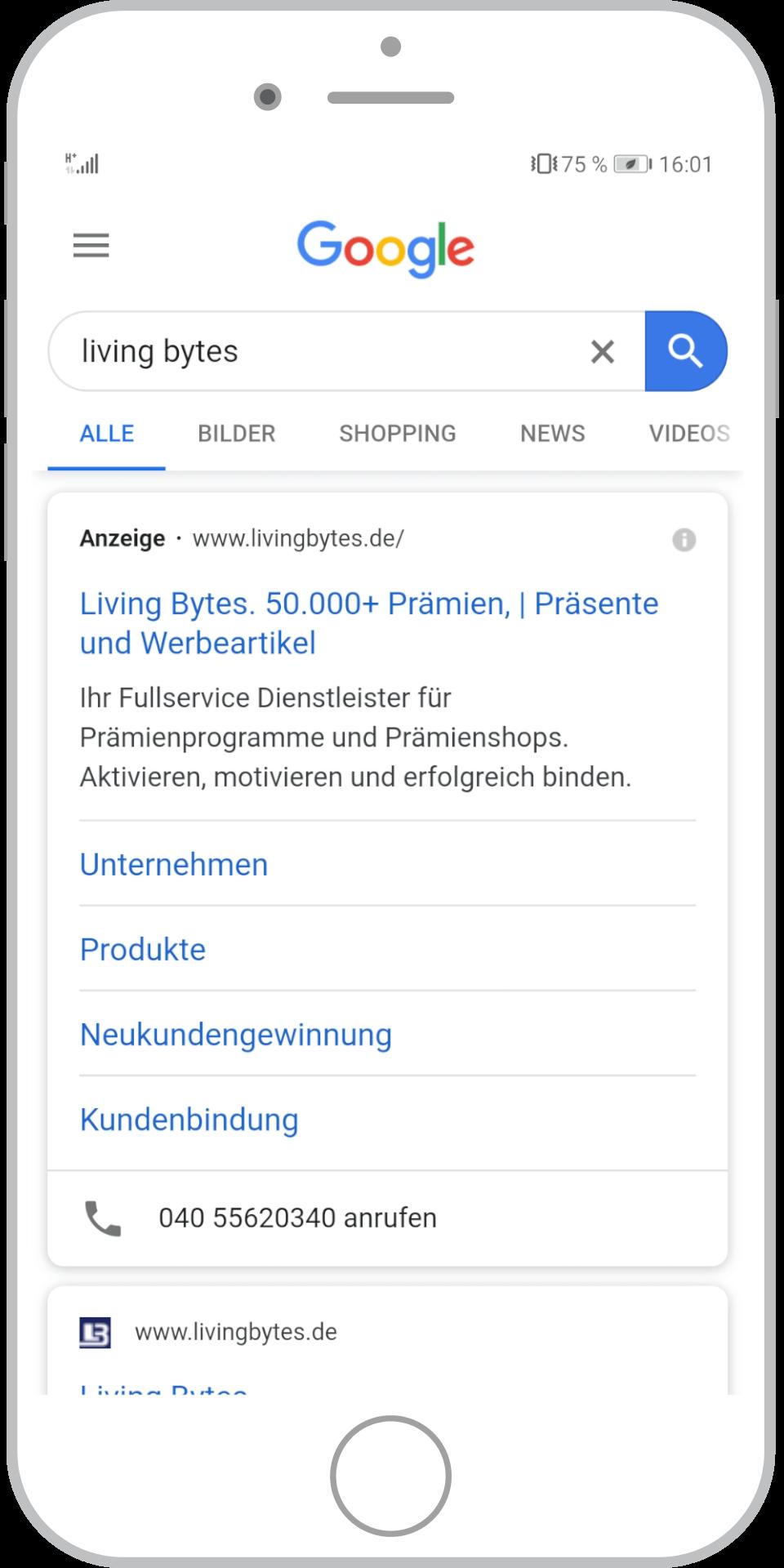 Google-Ads-Agentur Stuttgart Beispielanzeige mobil HH