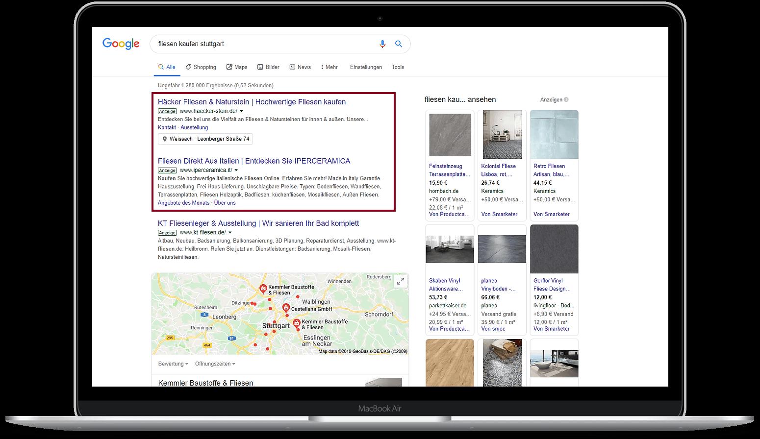 Google-Ads-Agentur Stuttgart Beispielanzeige Fliesen