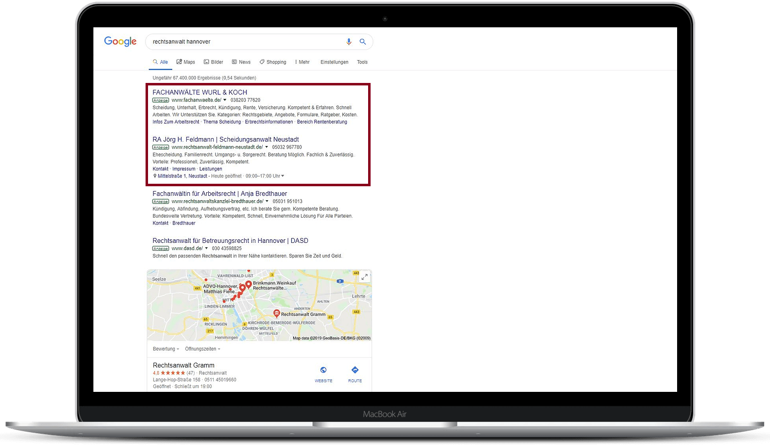 SEA-Agentur Hannover Google Anzeige Rechtsanwalt