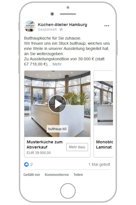 Social-Media-Agentur Hamburg Facebook Feed Anzeige
