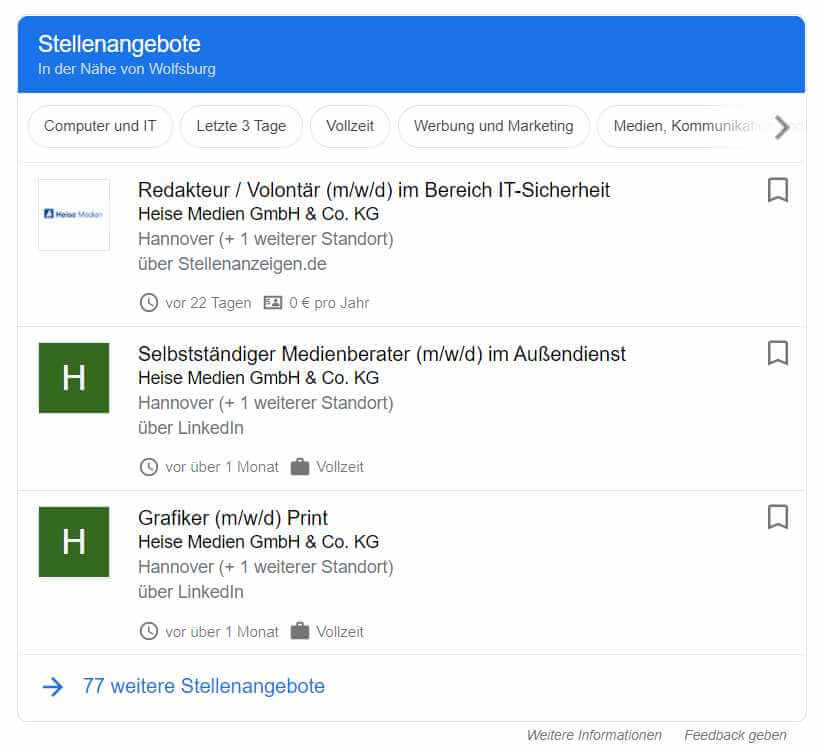 Google for Jobs Beispiele
