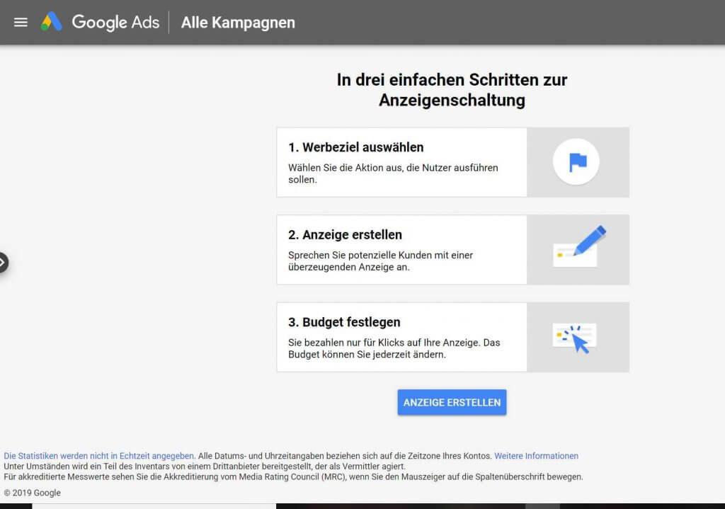 Smart Campaigns, in drei Schritten zur Anzeigengestaltung