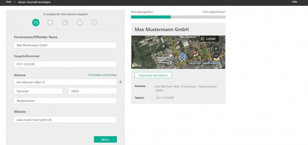 Bing Places Unternehmensdaten