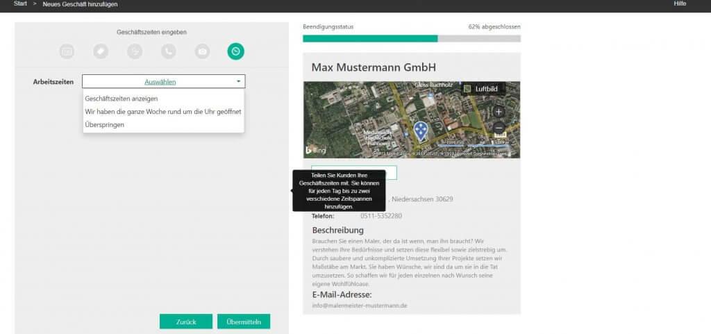 Bing Places Geschäftszeiten