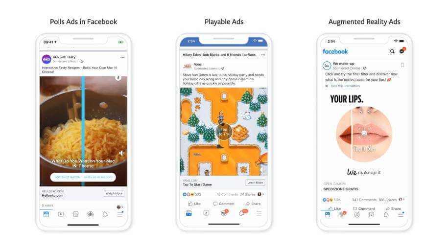 Interaktive Werbeanzeigen von Facebook