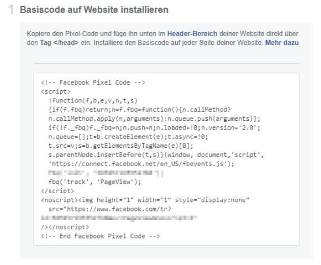 Beispiel für den Code eines Facebook Pixels, Quelle: Facebook