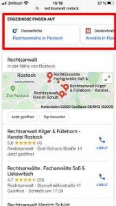 Google Suche Rechtsanwalt Rostock