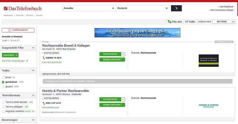 Google Suche Rechtsanwalt Rostock nach Klick