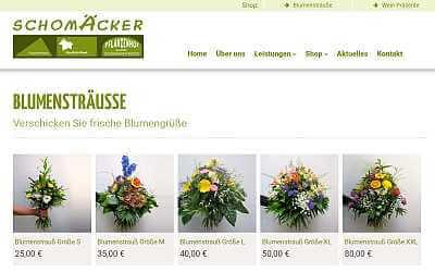 Online-Shop-Referenz Blumen Schomäcker