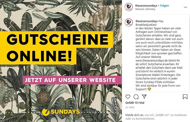 Beispiel für die Bewerbung von Online-Gutscheinen auf Instragram, Quelle: Instagram
