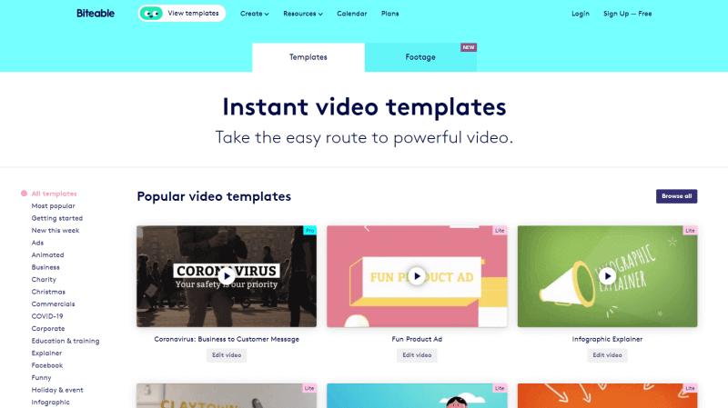 Video Tamplates Beispiel Biteable