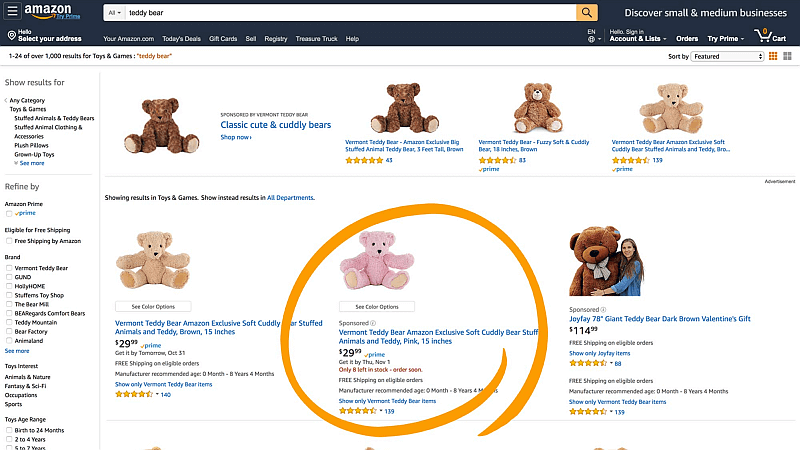 Amazon Werbung Beispiel für Sponsored Products, Quelle: Amazon