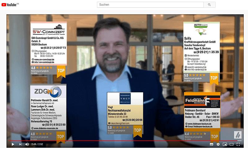 Screenshot aus dem Bewerbungsvideo zeigt Verkaufsleiter mit Bewertungsbanderole