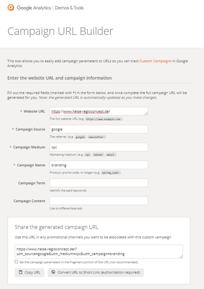 Beispiel URL fuer die Verknuepfung von Google Ads mit Analytics
