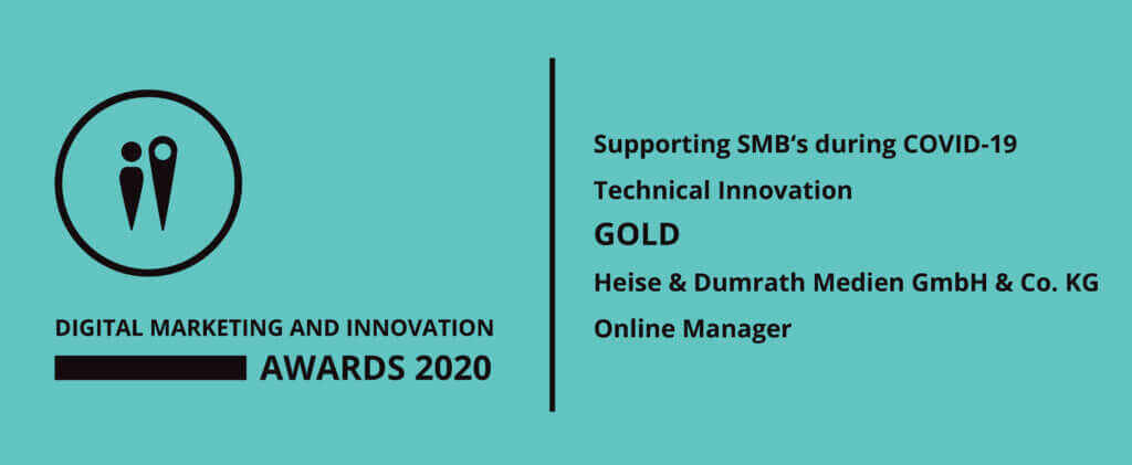 Digital Marketing and Innovation Awards 2020 Gold