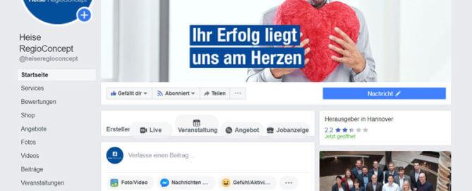Facebook Leitfaden Titelbildbeispiel von Heise RegioConcept