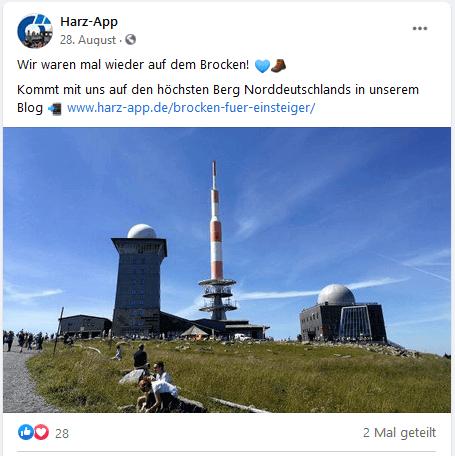 Beispiel Harz-App, Quelle: Facebook