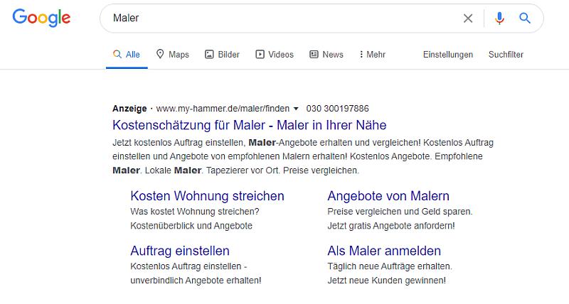 Google Ads Kundenbetreuung bei Heise RegioConcept Beispiel Maler