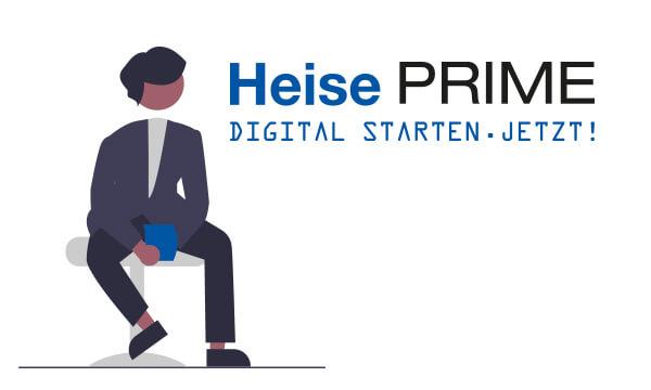 Heise Prime Logo mit sitzender Figur